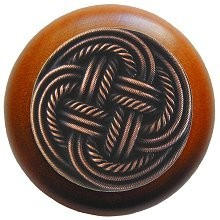 Notting Hill NHW-739C-AC, Classic Weave Wood Knob in Antique Copper/Cherry Wood, Classic