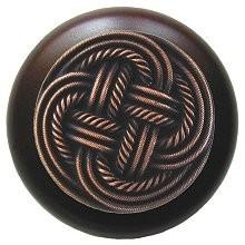 Notting Hill NHW-739W-AC, Classic Weave Wood Knob in Antique Copper/Dark Walnut Wood, Classic