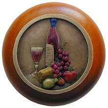 Notting Hill NHW-740C-BHT, Best Cellar Wood Knob in Hand-Tinted Antique Brass/Cherry Wood, Tuscan