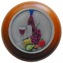 Notting Hill NHW-740C-PHT, Best Cellar Wood Knob in Hand-Tinted Antique Pewter/Cherry Wood, Tuscan