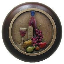 Notting Hill NHW-740W-BHT, Best Cellar Wood Knob in Hand-Tinted Antique Brass/Dark Walnut Wood, Tuscan