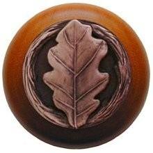 Notting Hill NHW-744C-AC, Oak Leaf Wood Knob in Antique Copper/Cherry Wood, Leaves
