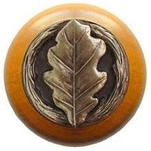 Notting Hill NHW-744M-AB, Oak Leaf Wood Knob in Antique Brass/Maple Wood, Leaves