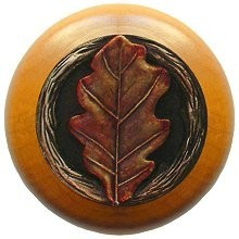 Notting Hill NHW-744M-BHT, Oak Leaf Wood Knob in Hand-Tinted Antique Brass/Maple Wood, Leaves