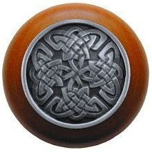 Notting Hill NHW-757C-AP, Celtic Isles Wood Knob in Antique Pewter/Cherry Wood, Jewel
