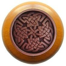 Notting Hill NHW-757M-AC, Celtic Isles Wood Knob in Antique Copper/Maple Wood, Jewel