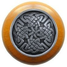 Notting Hill NHW-757M-AP, Celtic Isles Wood Knob in Antique Pewter/Maple Wood, Jewel