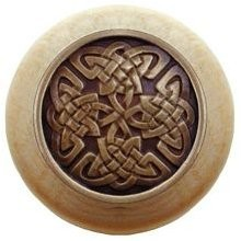 Notting Hill NHW-757N-AB, Celtic Isles Wood Knob in Antique Brass/Natural Wood, Jewel