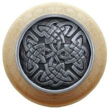 Notting Hill NHW-757N-AP, Celtic Isles Wood Knob in Antique Pewter/Natural Wood, Jewel