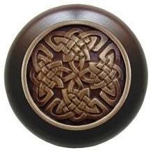Notting Hill NHW-757W-AB, Celtic Isles Wood Knob in Antique Brass/Dark Walnut Wood, Jewel