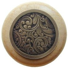 Notting Hill NHW-759N-AB, Saddleworth Wood Knob in Antique Brass/Natural Wood, Classic