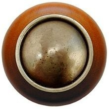 Notting Hill NHW-761C-AB, Plain Dome Wood Knob in Antique Brass/Cherry Wood, Classic