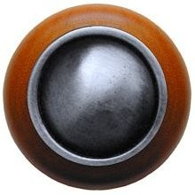 Notting Hill NHW-761C-AP, Plain Dome Wood Knob in Antique Pewter/Cherry Wood, Classic