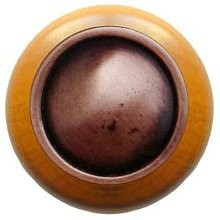 Notting Hill NHW-761M-AC, Plain Dome Wood Knob in Antique Copper/Maple Wood, Classic
