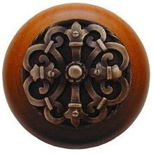 Notting Hill NHW-776C-AB, Chateau Wood Knob in Antique Brass/Cherry Wood, Olde World