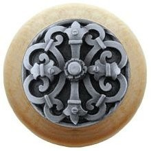 Notting Hill NHW-776N-AP, Chateau Wood Knob in Antique Pewter/Natural Wood, Olde World