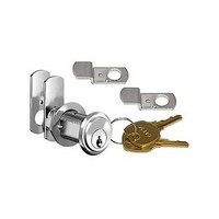 CompX C8103-101-26D, Pin Tumbler Cam Lock, 90-Degree Cam Turn, Lipped/Overlay, Cylinder 1-3/16, Max Material 7/8, Keyed #101, Satin Chrome