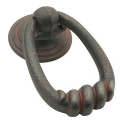 "Manchester Ring Knob 2-3/16"" Long Rustic Iron Hickory Hardware P2014-RI"
