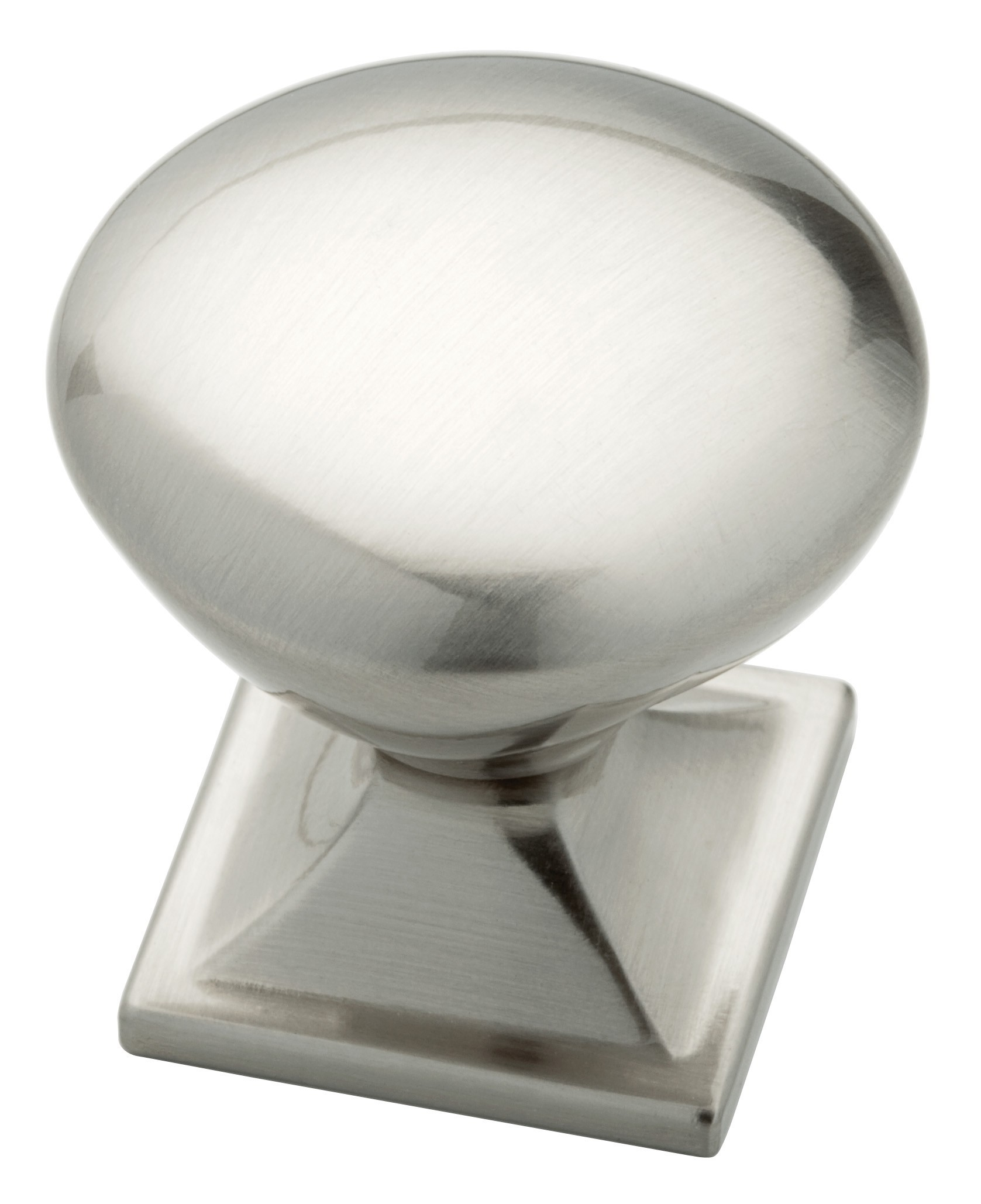 Liberty Hardware P20387-SN-C, 1-1/4 (32mm) Round Knob With Square Base, Zinc Die Cast Knob, Satin Nickel