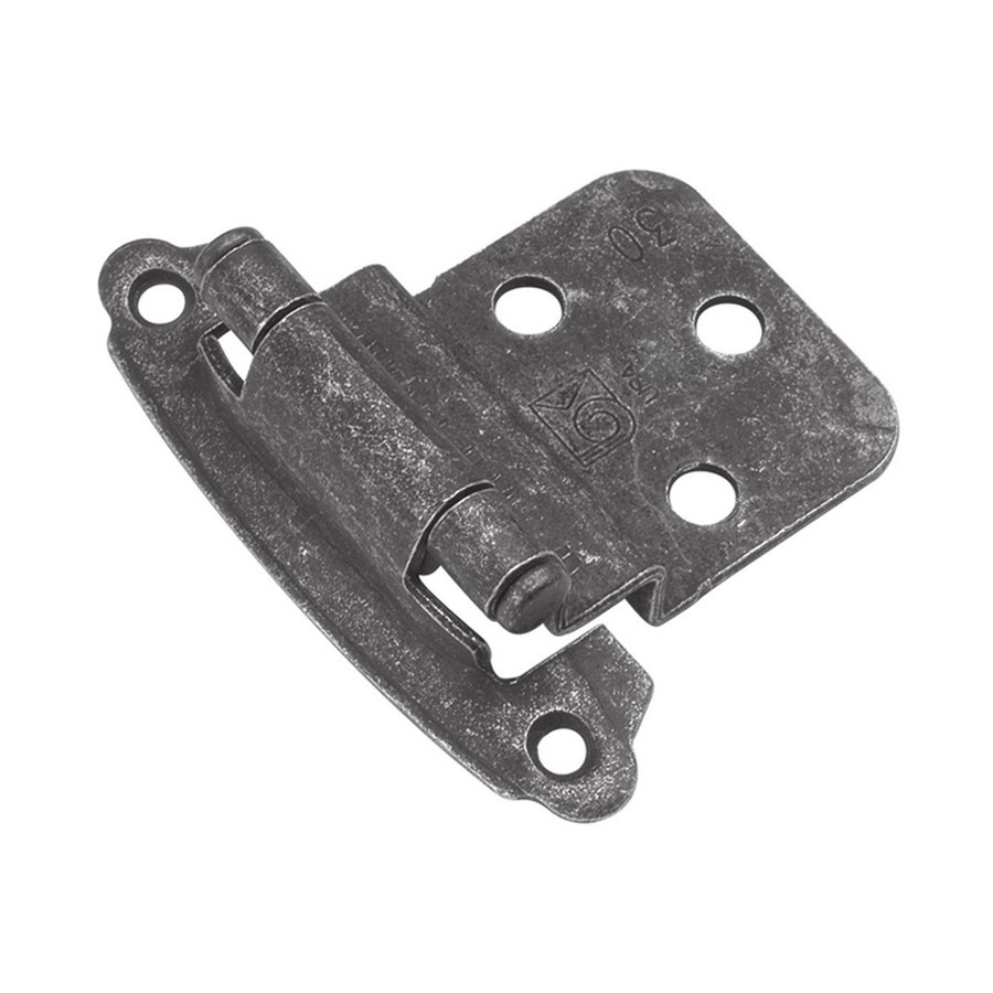 "3/8"" Inset Face Mount Self-Closing Hinge Vibra Pewter Hickory Hardware P243-VP"