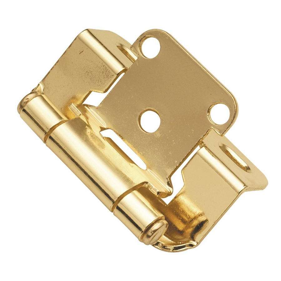 """1/2"""" Overlay Partial Wrap Self-Closing Hinge Polished Brass Hickory Hardware P2710F-3"""