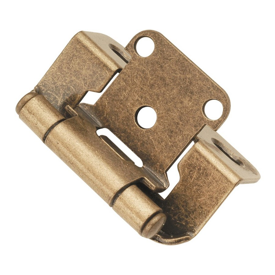 """1/2"""" Overlay Partial Wrap Self-Closing Hinge Antique Brass Hickory Hardware P2710F-AB"""