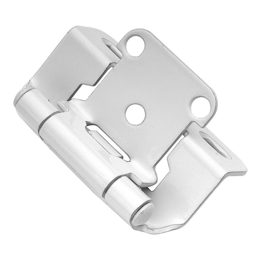 """1/2"""" Overlay Partial Wrap Self-Closing Hinge White Hickory Hardware P2710F-W2"""