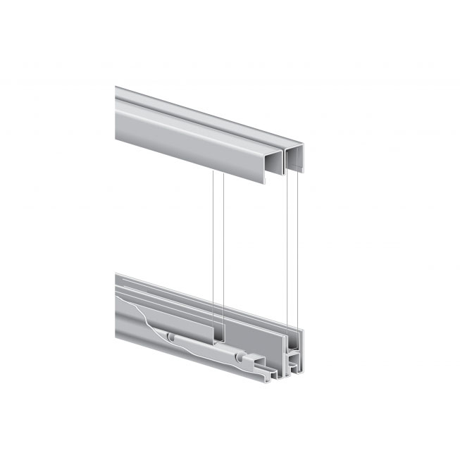 KV P992 ZC 48, 48in Roll-Ezy Track Sliding Glass Door Hardware Set for By-Passing 1/4 Glass Doors
