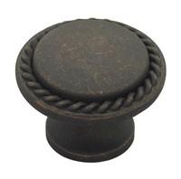 Liberty Hardware PN0293-OB-C, Rope Edge Knob, Length 1-3/16, Distressed Oil Rubbed Bronze, Contempo II