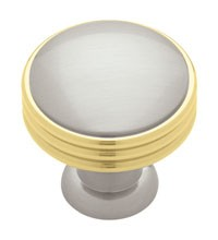 Liberty Hardware PN1035-PBN-C, Knob, 1-3/8 dia., Polished Brass & Satin Nickel