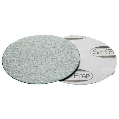"SurfPrep 6"" Film Abrasives Disc, 180 Grit, Aluminum Oxide, No Hole, PSA"