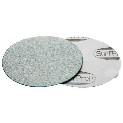 "SurfPrep 6"" Film Abrasives Disc, 320 Grit, Aluminum Oxide, No Hole, PSA"