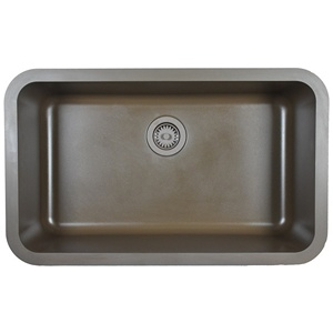 "Karran Q340BROWN,  30-7/8"" x 18-7/8"" Quartz Undermount Kitchen Sink Extra Large Single Bowl, Brown"