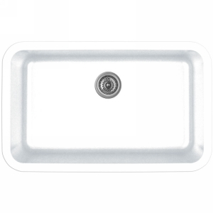 """Karran Q340WHITE, 30-7/8"""" x 18-7/8"""" Quartz Undermount Kitchen Sink Extra Large Single Bowl, White"""