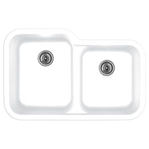"Karran Q360WHITE, 32-1/2"" x 21"" Quartz Undermount Kitchen Sink Extra Large Single Bowl, White"