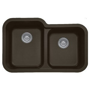 "32"" Seamless Undermount Large/Small Bowl Quartz Kitchen Sink Brown Karran Q-360R-BR"