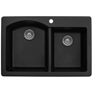 "Karran QT610-BLACK, 33"" x 22"" Quartz Double Sink Bowls Drop-in, Large/Small Bowls, Black"