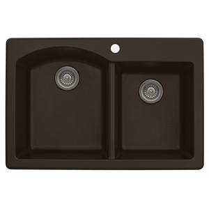 "33"" Top Mount Large/Small Bowl Quartz Kitchen Sink Brown Karran QT-610-BROWN"