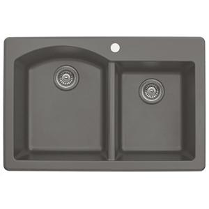 """Karran QT610-CONCRETE, 33"""" x 22"""" Quartz Double Sink Bowls Drop-in Style, Large/Small Bowls, Concrete"""