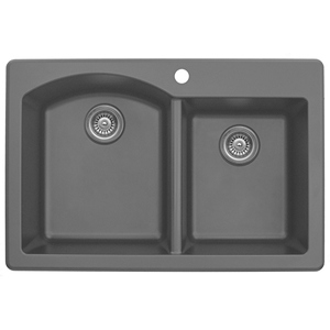 "Karran QT610-GREY, 33"" x 22"" Quartz Double Sink Bowls Drop-in Style, Large/Small Bowls, Grey"
