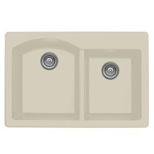 "Karran QT610-BI, 33"" x 22"" Quartz Double Sink Bowls Drop-in, Large/Small Bowls, Bisque"