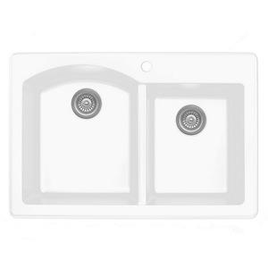 """Karran QT610-WH, 33"""" x 22"""" Quartz Double Sink Bowls Drop-in Style, Large/Small Bowls, White"""