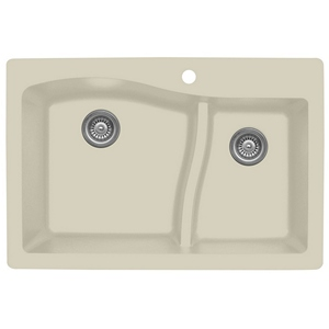 "Karran QT630-BI, 33"" x 22"" Quartz Sink Drop-in Style, Large/Small Double Bowls, Bisque"
