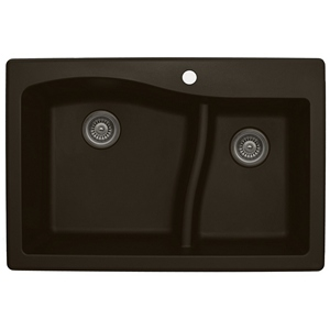 "Karran QT630-BROWN, 33"" x 22"" Quartz Sink Drop-in Style, Large/Small Double Bowls, Brown"