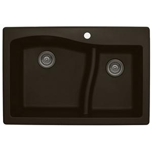 "Karran QT630-BROWN, 33"" x 22"" Quartz Sink Drop-in Style, Large/Small Double Bowls, Brown"