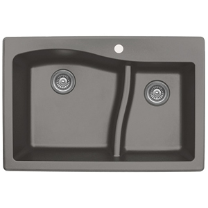"Karran QT630-CONCRETE, 33"" x 22"" Quartz Sink Drop-in Style, Large/Small Double Bowls, Concrete"