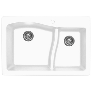 "Karran QT630-WH, 33"" x 22"" Quartz Sink Drop-in Style, Large/Small Double Bowls, White"