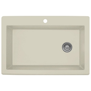 "Karran QT670-BI, 33"" x 22"" Quartz Sink Large Single Bowl Drop-in, Bisque"