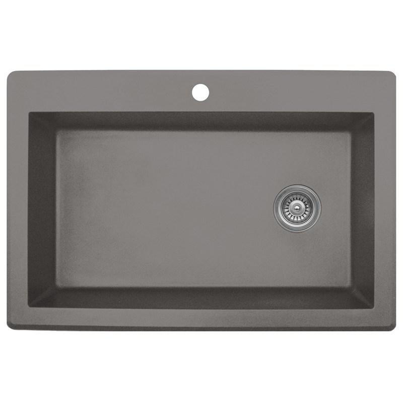 """Karran QT670-CONCRETE, 33"""" x 22"""" Quartz Sink Large Single Bowl Drop-in, Concrete"""
