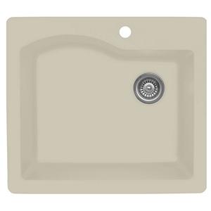 "25"" Top Mount Single Bowl Quartz Kitchen Sink Bisque Karran QT-671-BI"